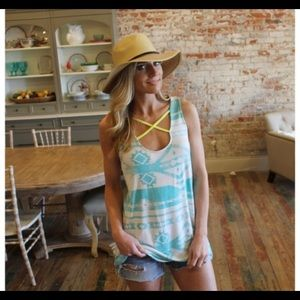 Mint Aztec Print Tunic/Coverup